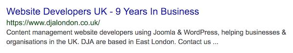 DJA London Search Engine Result